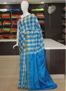 Blue Offwhite Checkered Design Uppada Silk Saree