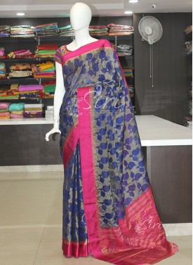 Blue Pink Fancy Kota Saree in Self Design