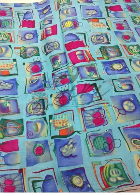 Blue Pink Printed Cotton Fabric Per Meter