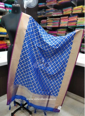 Blue Purple Banarasi Dupatta