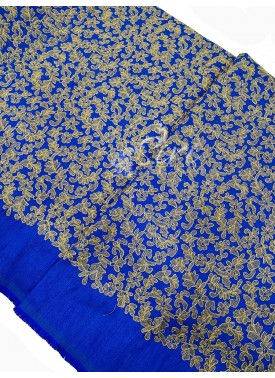Blue Raw Silk Fabric in Heavy Gold Embroidery Work