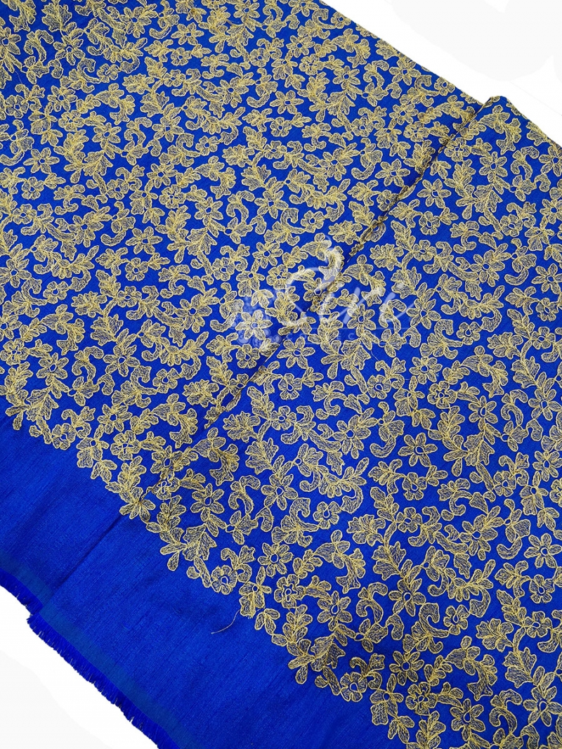 Blue Raw Silk Fabric in Heavy Gold Embroidery Work Per Meter