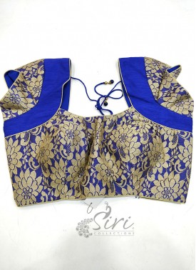 Blue Raw Silk Padded Stitched Blouse