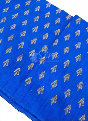 Blue Silk Fabric in Zari Embroidery and Sequins Butis Per Meter