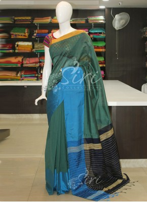 Blue Teal Navy Blue Bailou Saree