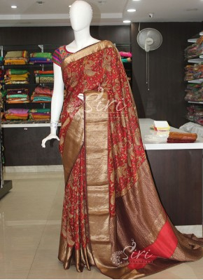 Brick Red Brown Pure Moonga Silk Saree in Vegetable Dyes and Antique Zari