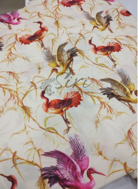 Brids Design Digital Print Crepe Fabric Per Meter