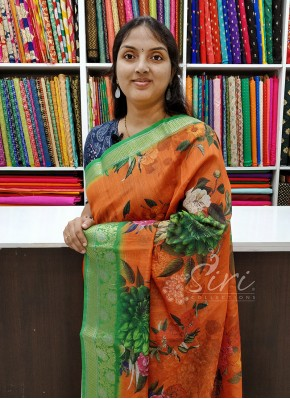 Bright Colourful Chanderi Linen Saree in Digital Print