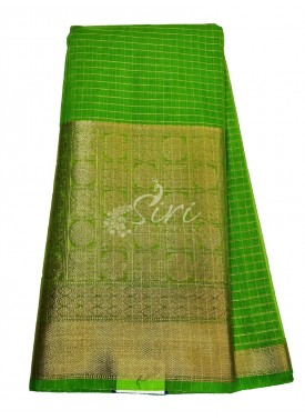 Bright Green Organza Fabric with Kanchi Border per meter