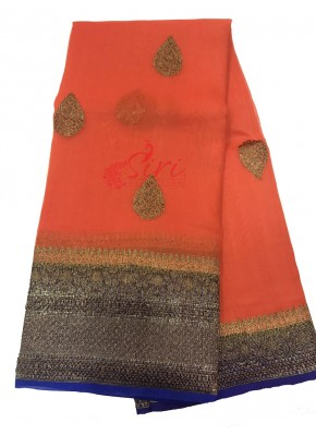 Bright Orange Pure Banarasi Kora Handloom Silk Saree in Buti Design with Contrast Border