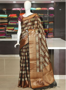 Brown Black Festive Banarasi Kora Saree in Tanchoi Weave