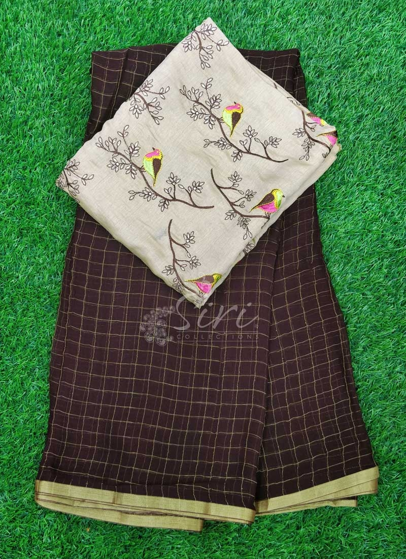 Brown Chiffon Saree in Zari Checks With Designer Blouse Fabric