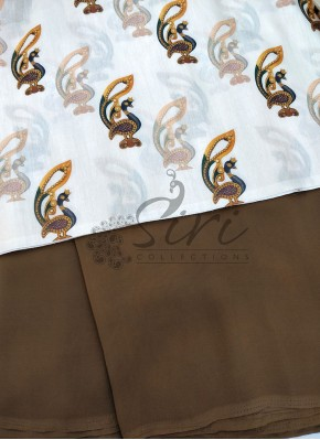 Brown Garden Georgette Saree with Digital Print Blouse Fabric