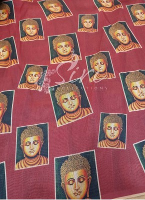 Buddha Digital Print on Fancy Silk By Meter