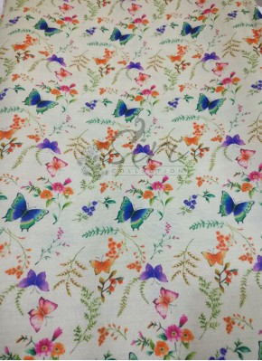 Butterflies Design Digital Print on Zarna Silk Fabric Per Meter