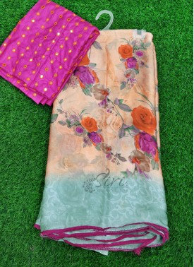 Casual Simple Printed Fancy Crepe Chiffon Saree