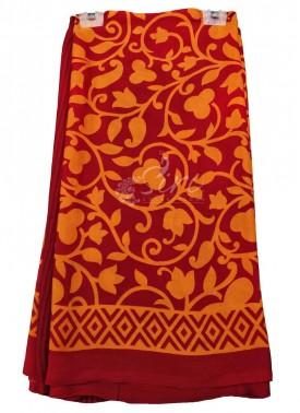Casual Simple Printed Satin Crepe Saree