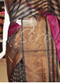 Dark Magenta Black Pure Uppada Silk Saree in zari stripes - 1