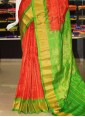 Pure Authentic Gadwal Silk Saree in Orange and Green - 1