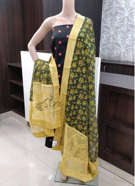 Chanderi Digital Print Dupatta with Designer Pastel Yellow Embroidery Work Borders