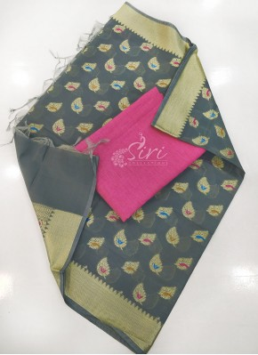 Chanderi Dupatta with Cotton Top Fabric and No Bottom