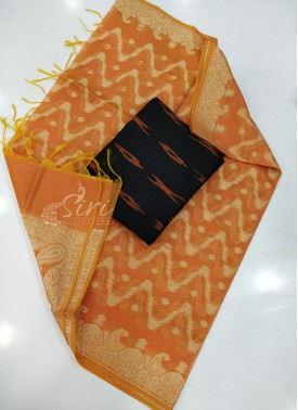 Chanderi Dupatta with Ikat Cotton Top Fabric and No Bottom