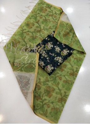 Chanderi Dupatta with Printed and Embroidery Work Top Fabric and No Bottom