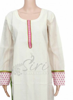 Chanderi PartyWear Kurti with Bead Work