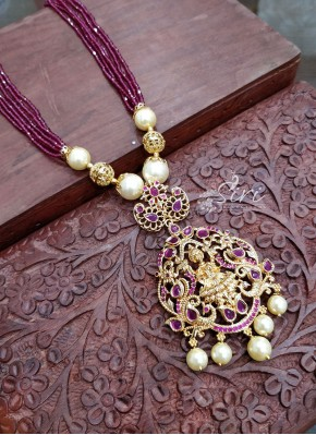 Charming Ruby Coloured Beads Chain in Lakshmi Pendant