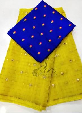 Charming Yellow Organza Saree with Designer Blouse Fabric