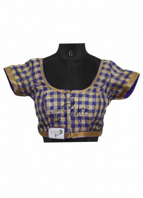 Checkered Design in Blue and Gold Stitched Fancy Silk Saree Blouse
