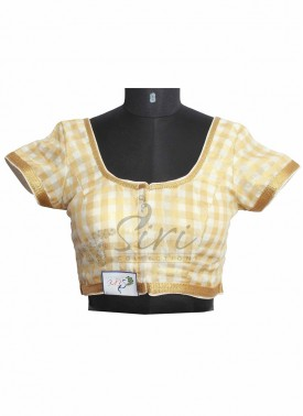 Checkered Design in Offwhite and Gold Stitched Fancy Silk Blouse