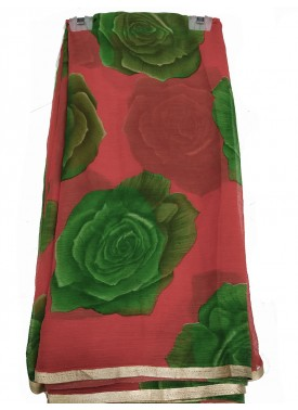 Chiffon Saree in Flower Design with Zari Print Border