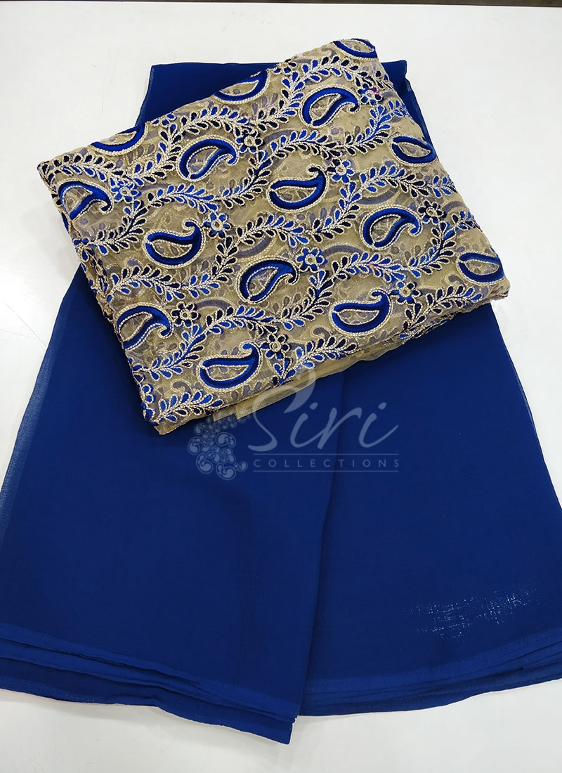 Chiffon Saree with Designer Blouse Fabric in Embroidery Work