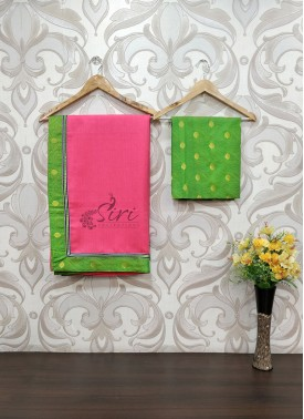 Colourful Bright Pink Jute Saree with Jacquard Blouse