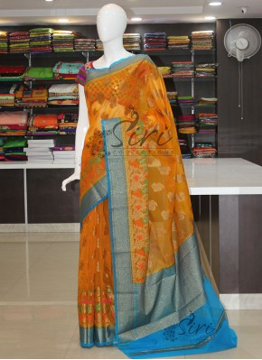 Colourful Organza Saree in Meena and Zari Weave