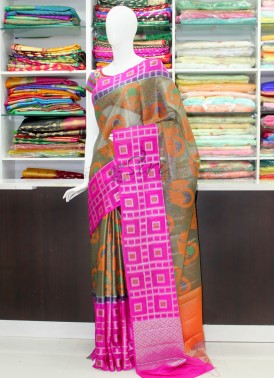 Colourful Soft Tissue Organza Saree