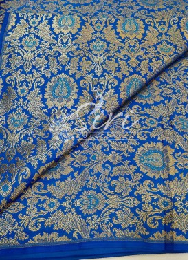 Copper Sulphate Blue Banarasi Silk Fabric Per Meter