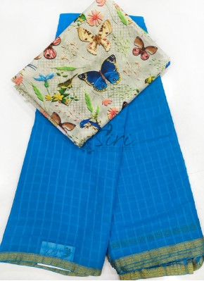 Copper Sulphate Blue Fancy Georgette Saree in Self Checks