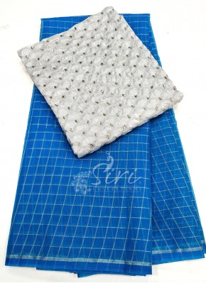 Copper Sulphate Blue Organza Saree in Silver Checks with Designer Blouse Fabric