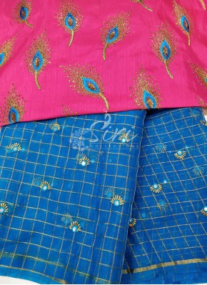 Copper Sulphate Blue Organza Saree with Designer Blouse Fabric