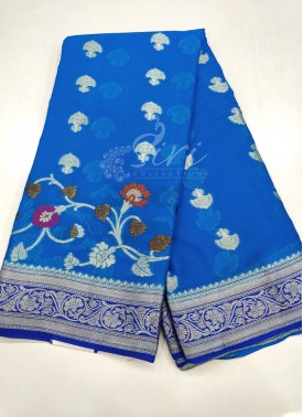 Copper Sulphate Blue Royal Blue Pure Banarasi Georgette Saree