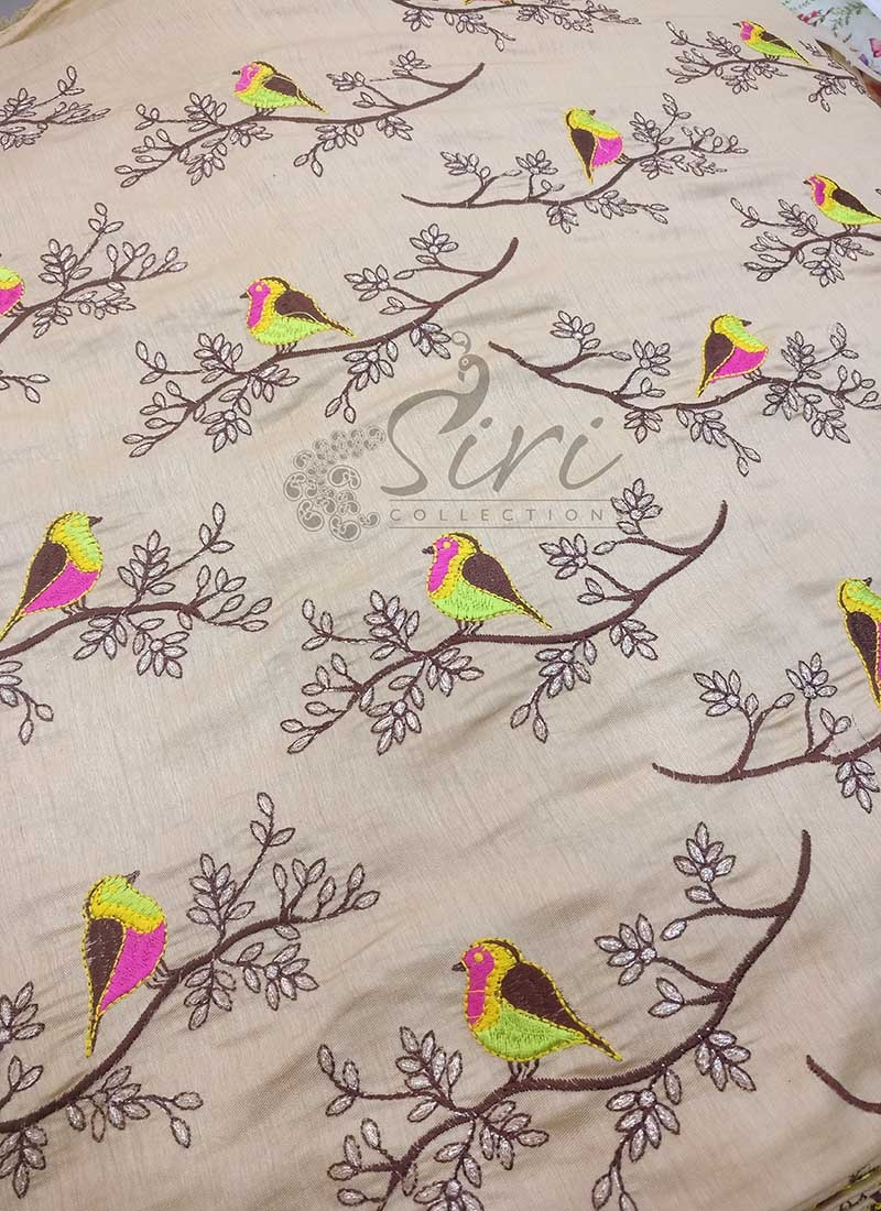 Cream Gold Double Shade Barfi Silk Fabric in Birds Design Embroidery Work Per Meter