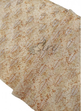 Cream Yellow Cotton Slub Fabric in Foil Print Per