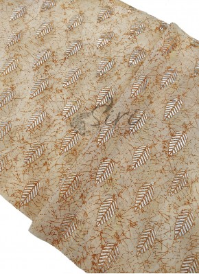 Cream Yellow Cotton Slub Fabric in Foil Print Per Meter