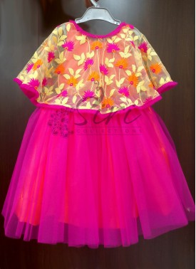Cute Designer Kids Frock with Cape in pink and orange for one year old