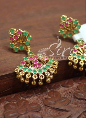 Cute Traditional Multi Colour AD Earrings