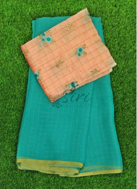 Cyan Blue Chiffon Saree in Zari Checks With Designer Blouse Fabric