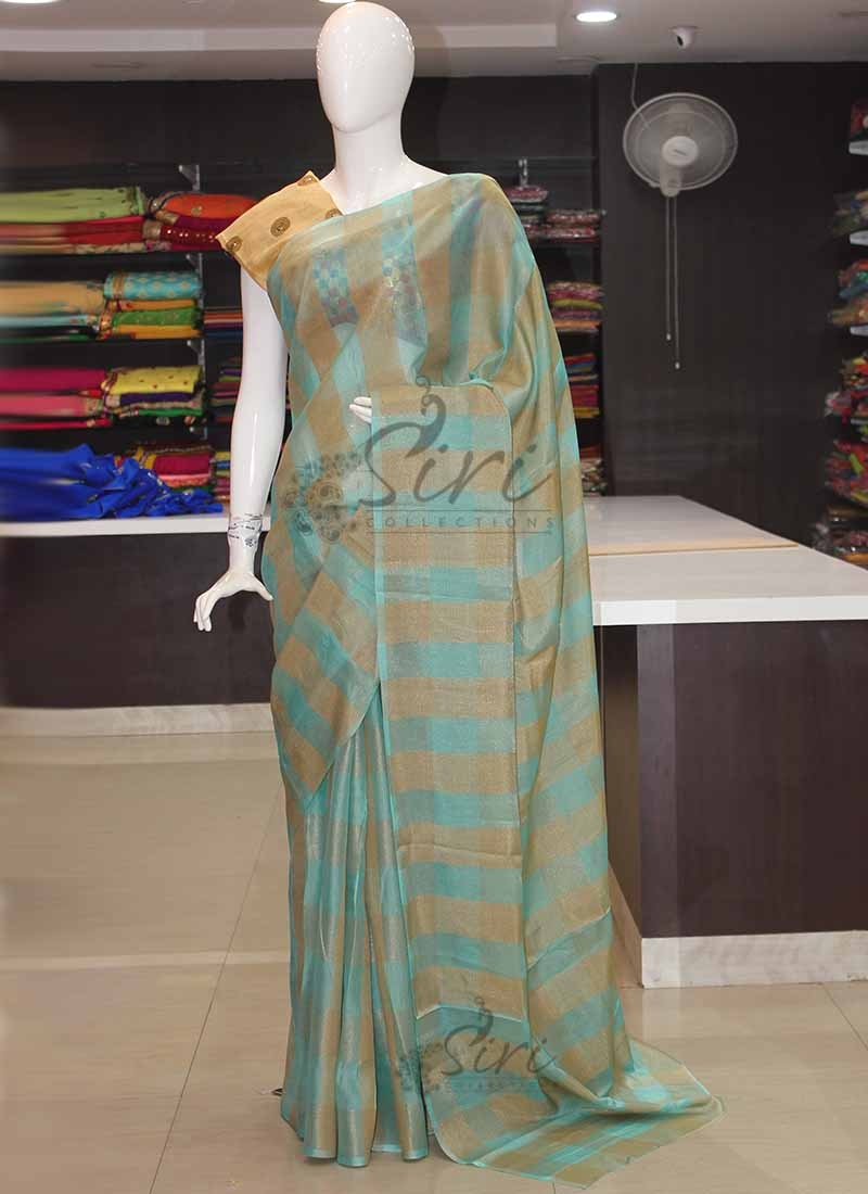 Cyan Blue Gold Checks Soft Jute Saree in with Designer Blouse