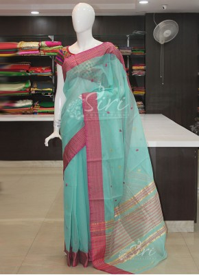 Cyan Blue Pink Shade Cotton Silk Saree